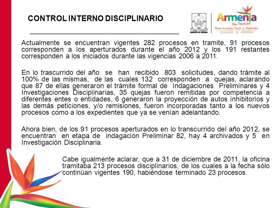 Actualmente se encuentran vigentes 282 procesos en tramite, 91 procesos corresponden a los aperturados durante el año 2012 y los 191 restantes corresponden a los iniciados durante las vigencias 2006 a 2011.