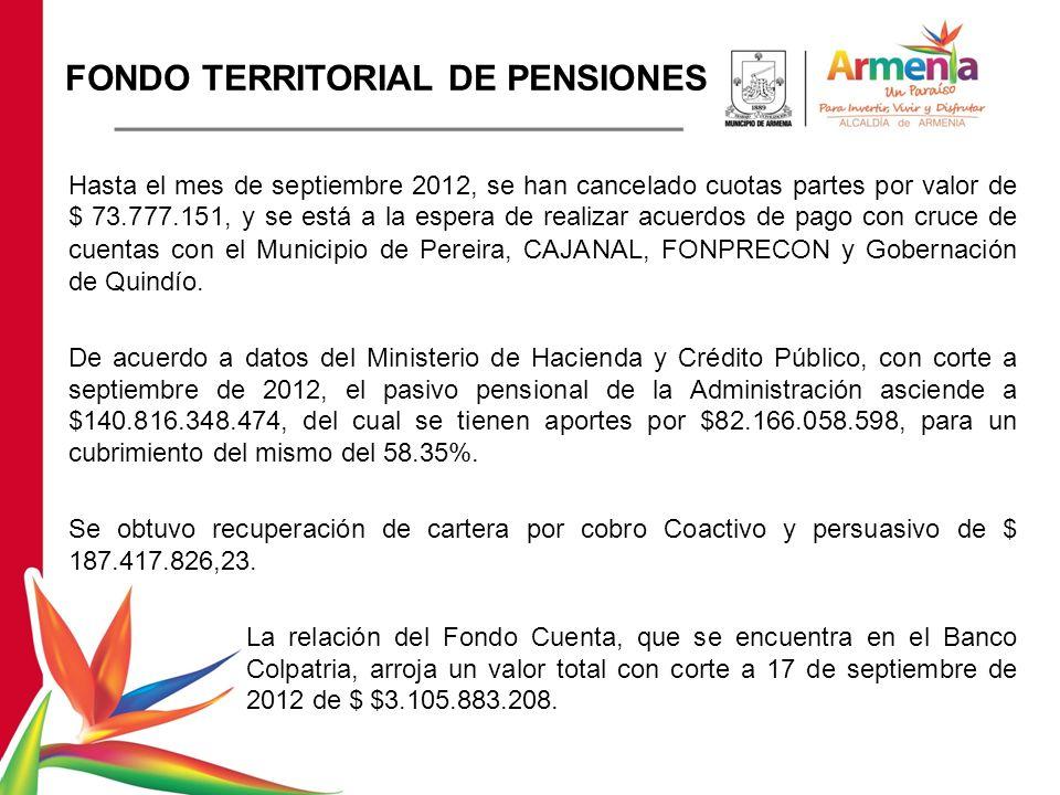 FONDO TERRITORIAL DE PENSIONES Hasta el mes de septiembre 2012, se han cancelado cuotas partes por valor de $ 73.777.151, y se está a la espera de realizar acuerdos de pago con cruce de cuentas con el Municipio de Pereira, CAJANAL, FONPRECON y Gobernación de Quindío.