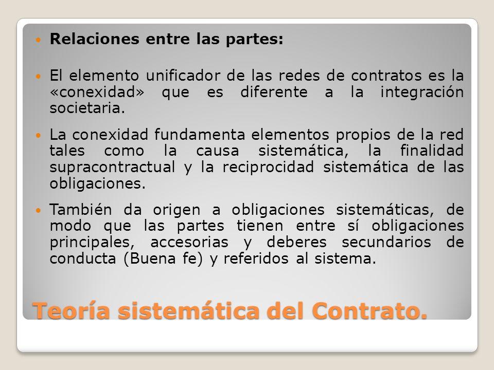 Relaciones entre las partes: El elemento unificador de las redes de contratos es la «conexidad» que es diferente a la integración societaria. La conex