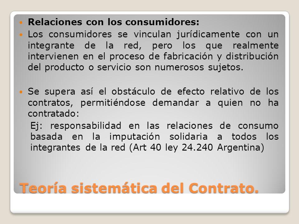 Teoría sistemática del Contrato. Relaciones con los consumidores: Los consumidores se vinculan jurídicamente con un integrante de la red, pero los que