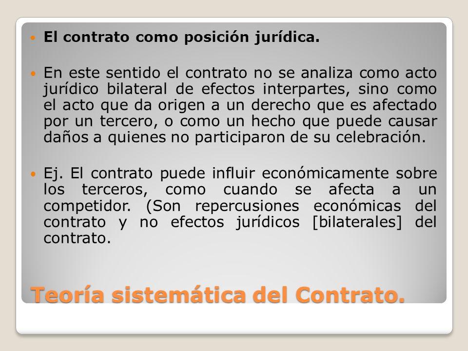 Teoría sistemática del Contrato. El contrato como posición jurídica. En este sentido el contrato no se analiza como acto jurídico bilateral de efectos