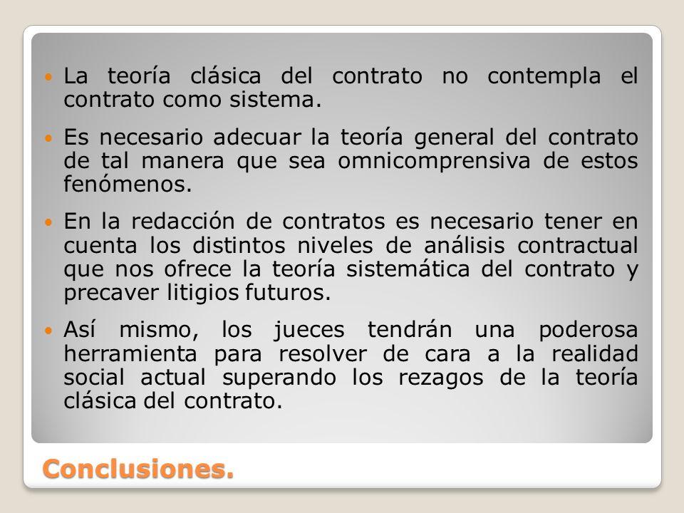 Conclusiones. La teoría clásica del contrato no contempla el contrato como sistema. Es necesario adecuar la teoría general del contrato de tal manera