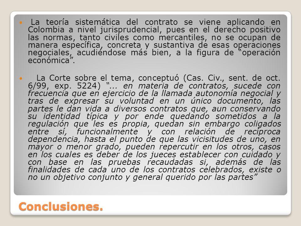 Conclusiones. La teoría sistemática del contrato se viene aplicando en Colombia a nivel jurisprudencial, pues en el derecho positivo las normas, tanto