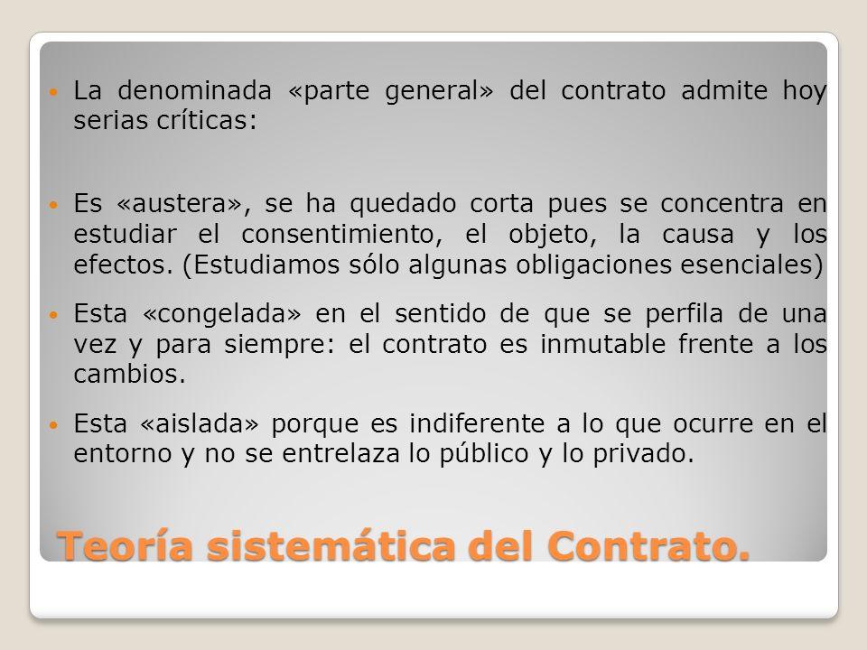 Teoría sistemática del Contrato. La denominada «parte general» del contrato admite hoy serias críticas: Es «austera», se ha quedado corta pues se conc