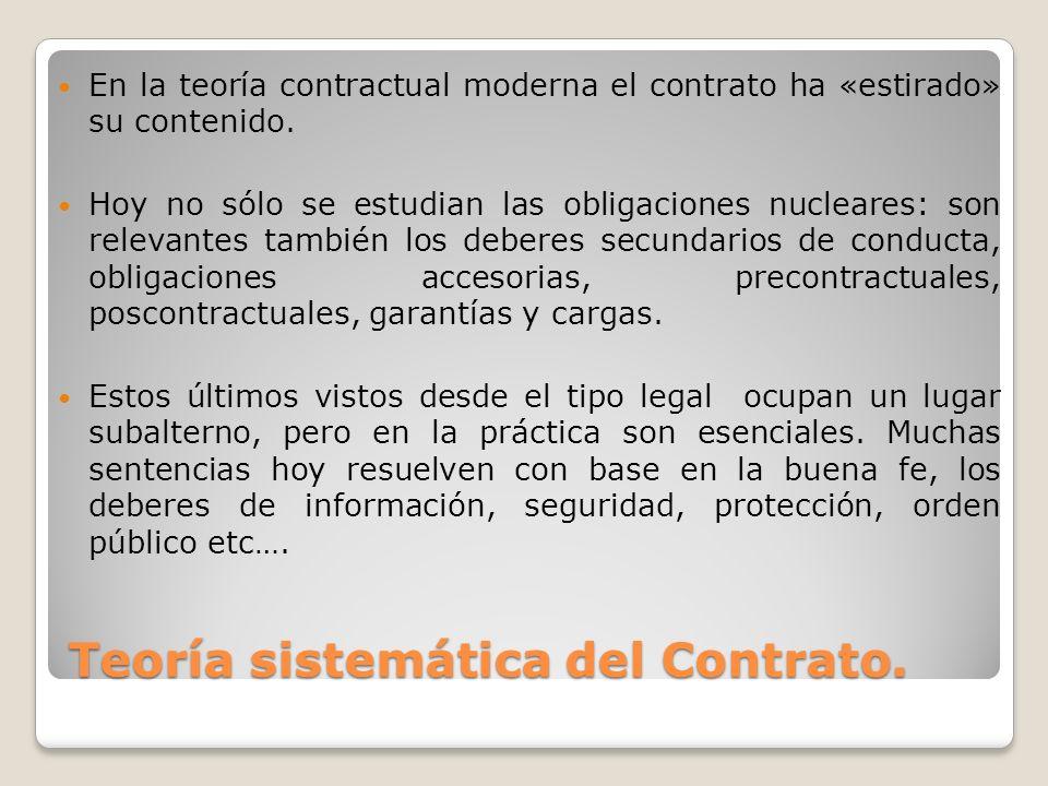 Teoría sistemática del Contrato. En la teoría contractual moderna el contrato ha «estirado» su contenido. Hoy no sólo se estudian las obligaciones nuc