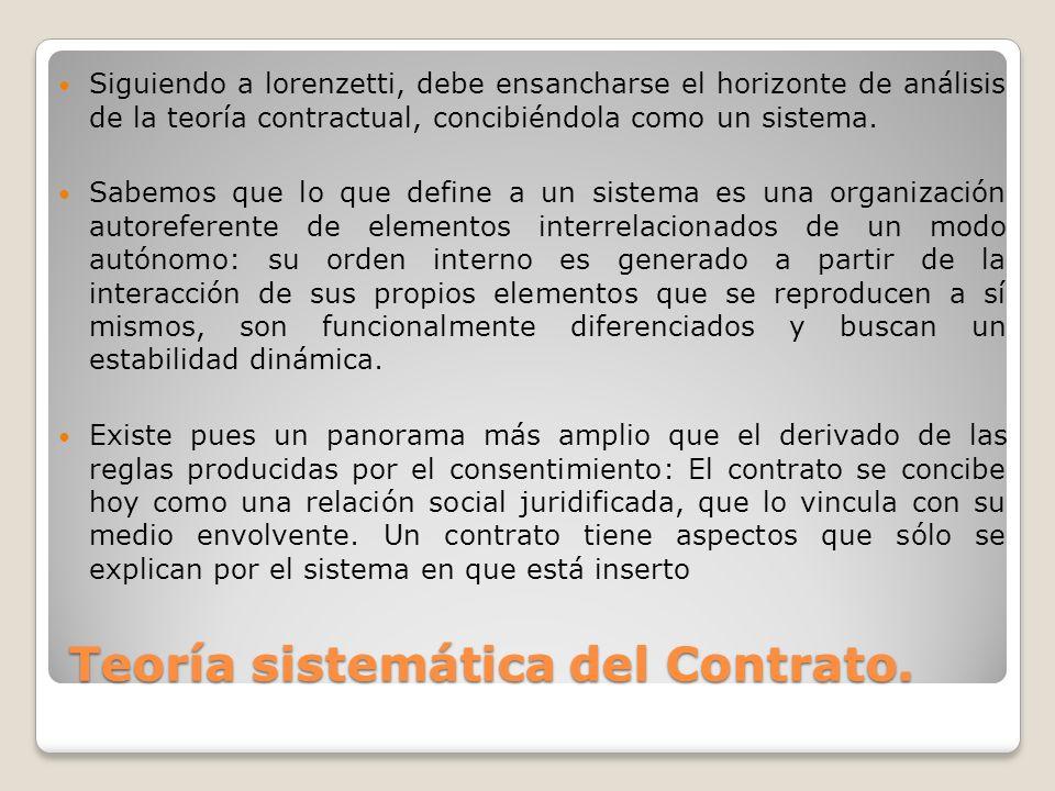 Teoría sistemática del Contrato. Siguiendo a lorenzetti, debe ensancharse el horizonte de análisis de la teoría contractual, concibiéndola como un sis