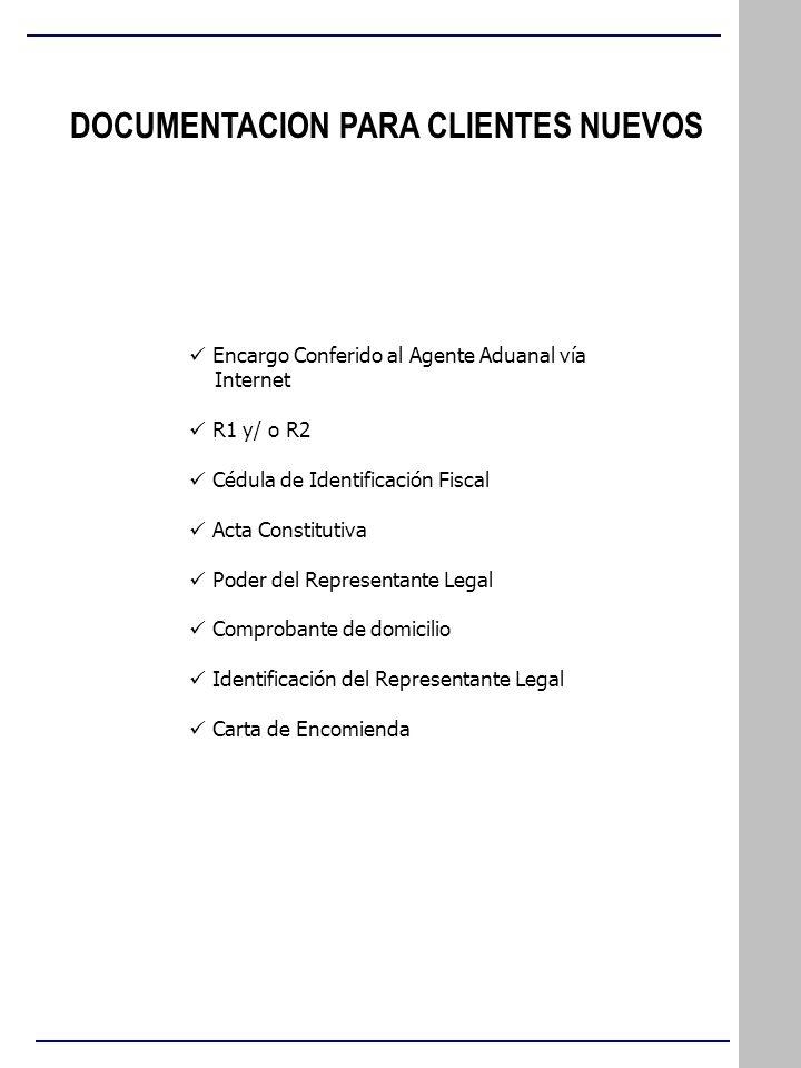 DOCUMENTACION PARA CLIENTES NUEVOS Encargo Conferido al Agente Aduanal vía Internet R1 y/ o R2 Cédula de Identificación Fiscal Acta Constitutiva Poder