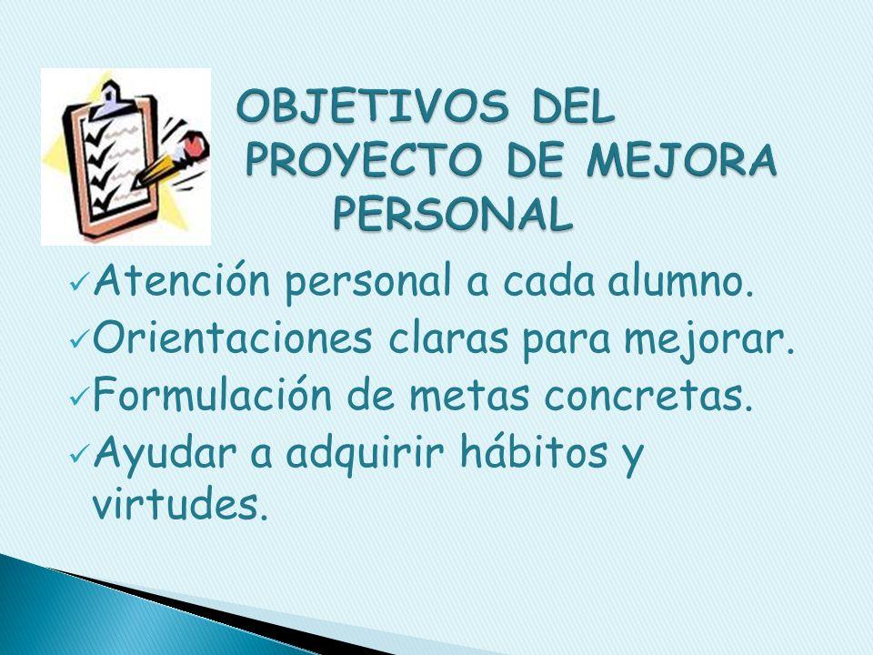 Es un plan personal de mejora preparado para cada alumno.