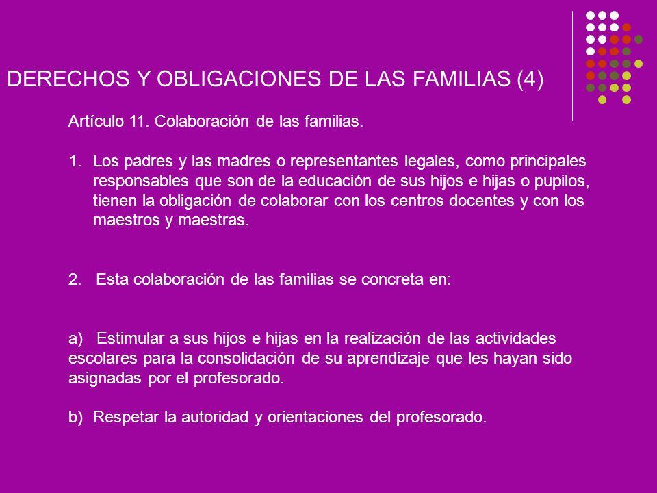 DERECHOS Y OBLIGACIONES DE LAS FAMILIAS (4) Artículo 11.