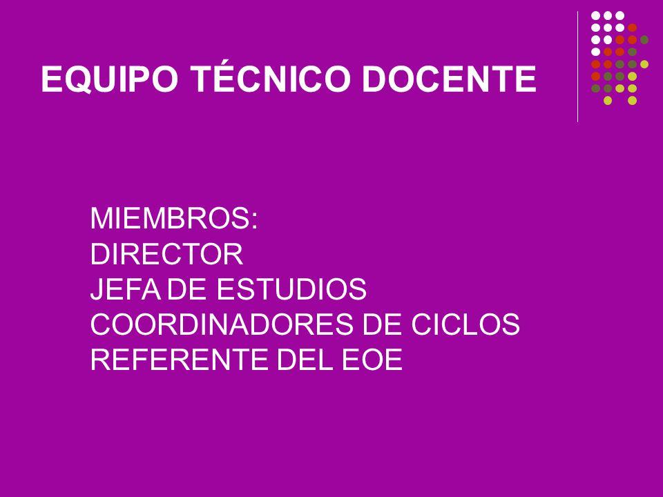 EQUIPO TÉCNICO DOCENTE MIEMBROS: DIRECTOR JEFA DE ESTUDIOS COORDINADORES DE CICLOS REFERENTE DEL EOE