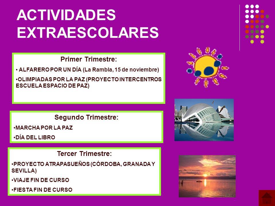 ACTIVIDADES EXTRAESCOLARES Primer Trimestre: ALFARERO POR UN DÍA (La Rambla, 15 de noviembre) OLIMPIADAS POR LA PAZ (PROYECTO INTERCENTROS ESCUELA ESPACIO DE PAZ) Segundo Trimestre: MARCHA POR LA PAZ DÍA DEL LIBRO Tercer Trimestre: PROYECTO ATRAPASUEÑOS (CÓRDOBA, GRANADA Y SEVILLA) VIAJE FIN DE CURSO FIESTA FIN DE CURSO
