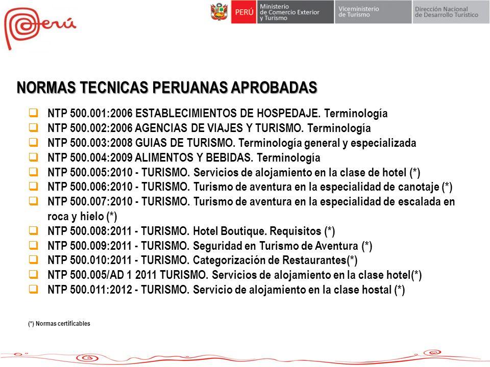 NORMAS TECNICAS PERUANAS APROBADAS NTP 500.001:2006 ESTABLECIMIENTOS DE HOSPEDAJE. Terminología NTP 500.002:2006 AGENCIAS DE VIAJES Y TURISMO. Termino