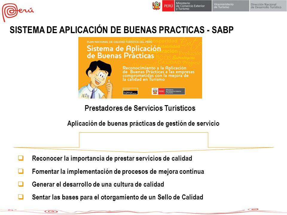 SISTEMA DE APLICACIÓN DE BUENAS PRACTICAS - SABP Aplicación de buenas prácticas de gestión de servicio Prestadores de Servicios Turísticos Reconocer l