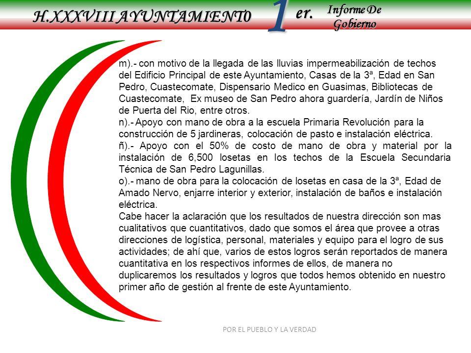 Informe De Gobierno Informe De Gobierno er.1 H.XXXVIII AYUNTAMIENT0 POR EL PUEBLO Y LA VERDAD m).- con motivo de la llegada de las lluvias impermeabil
