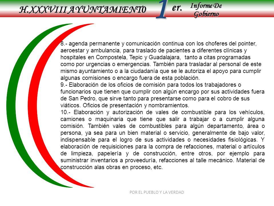 Informe De Gobierno Informe De Gobierno er.1 H.XXXVIII AYUNTAMIENT0 POR EL PUEBLO Y LA VERDAD 8.- agenda permanente y comunicación continua con los ch