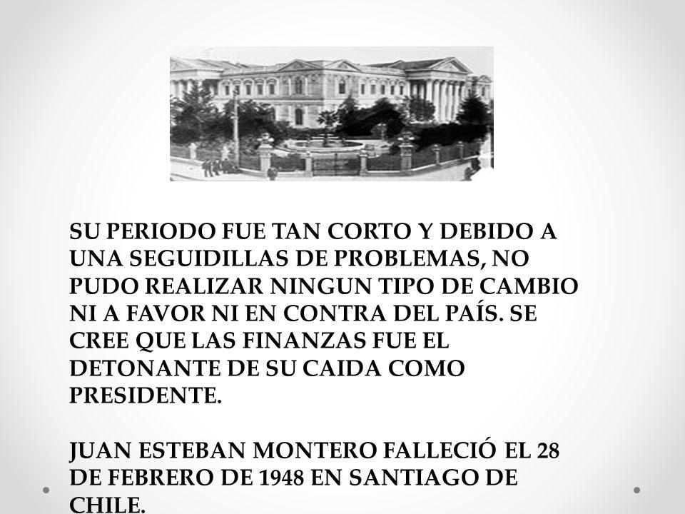 SU GOBIERNO DURÓ DESDE 1931 A 1932, GOBERNO ESCASOS MESES. LA CRISIS POLÍTICO-INSTITUCIONAL Y ECONÓMICA QUE HABIA EN ESE MOMENTO SOBREPASÓ LA INSTITUC