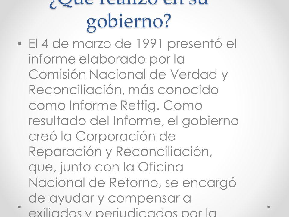 Periodo de gobierno El 14 de diciembre de 1989 Patricio Aylwin es elegido Presidente de la República. El 11 de marzo de 1990 recibió del general Pinoc