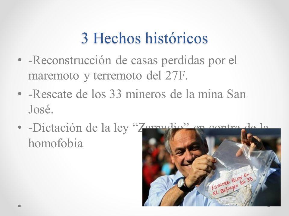 Miguel juan Sebastián Piñera Echeñique -El nació el 1 de Diciembre de 1949 en Santiago. - Periodo Presidencial: desde el 11 de Marzo de 2010 y actualm