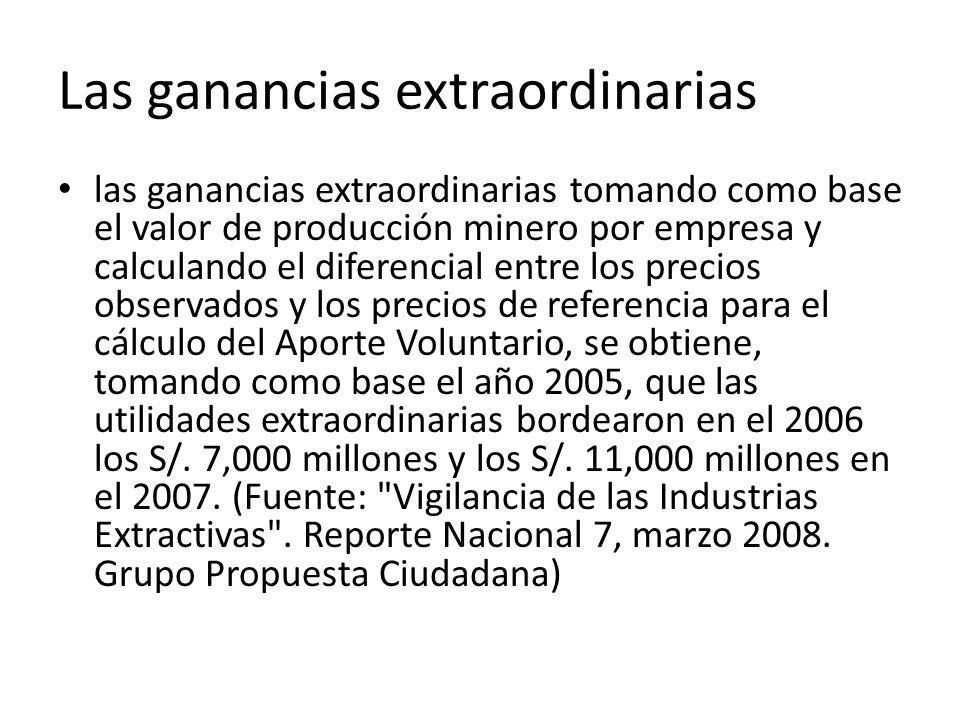 Las ganancias extraordinarias las ganancias extraordinarias tomando como base el valor de producción minero por empresa y calculando el diferencial entre los precios observados y los precios de referencia para el cálculo del Aporte Voluntario, se obtiene, tomando como base el año 2005, que las utilidades extraordinarias bordearon en el 2006 los S/.