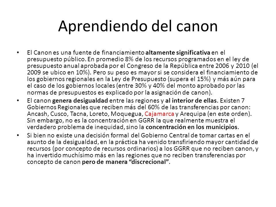 Aprendiendo del canon El Canon es una fuente de financiamiento altamente significativa en el presupuesto público.