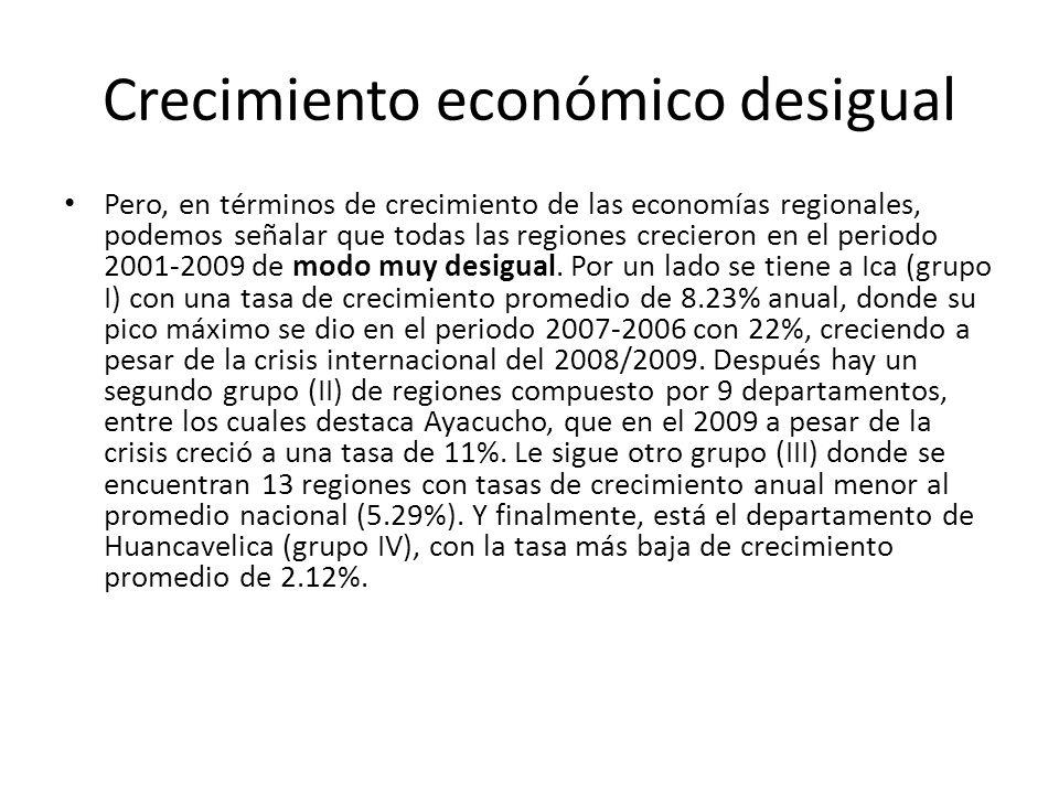 Crecimiento económico desigual Pero, en términos de crecimiento de las economías regionales, podemos señalar que todas las regiones crecieron en el periodo 2001-2009 de modo muy desigual.