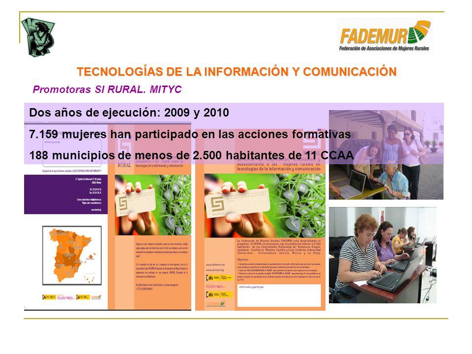 Promotoras SI RURAL. MITYC TECNOLOGÍAS DE LA INFORMACIÓN Y COMUNICACIÓN Dos años de ejecución: 2009 y 2010 7.159 mujeres han participado en las accion