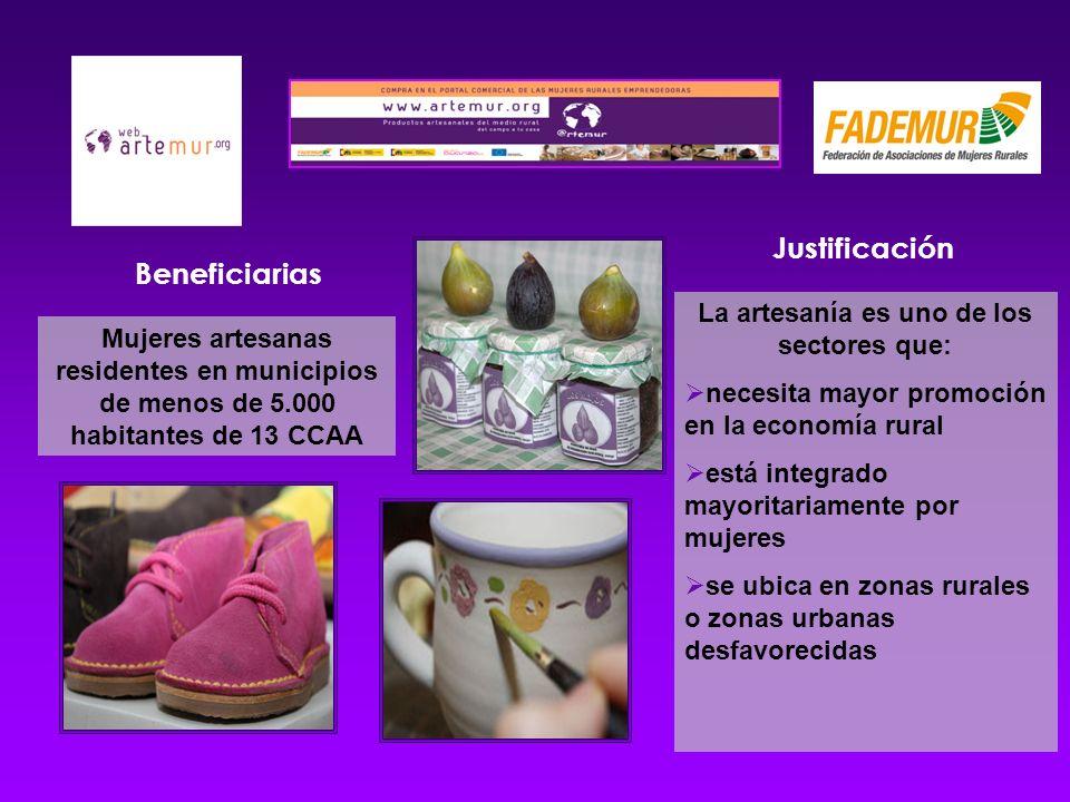 Beneficiarias Mujeres artesanas residentes en municipios de menos de 5.000 habitantes de 13 CCAA Justificación La artesanía es uno de los sectores que