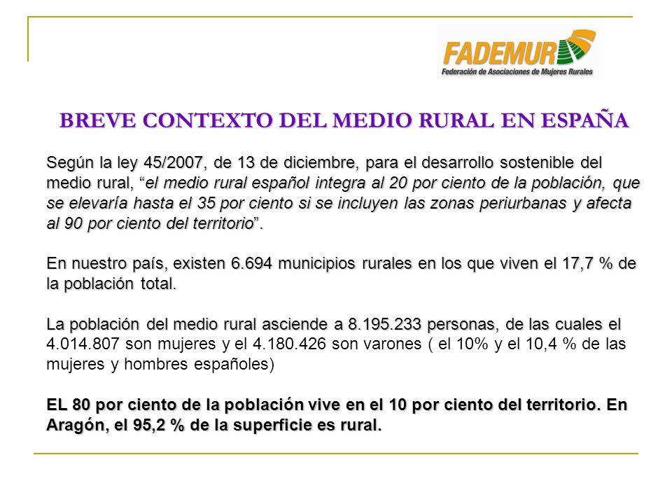 BREVE CONTEXTO DEL MEDIO RURAL EN ESPAÑA Según la ley 45/2007, de 13 de diciembre, para el desarrollo sostenible del medio rural, el medio rural españ