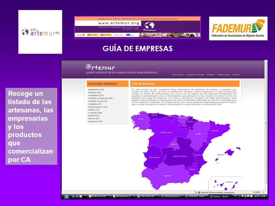GUÍA DE EMPRESAS Recoge un listado de las artesanas, las empresarias y los productos que comercializan por CA