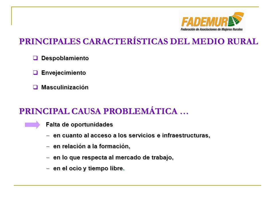 PRINCIPALES CARACTERÍSTICAS DEL MEDIO RURAL Despoblamiento Despoblamiento Envejecimiento Envejecimiento Masculinización Masculinización PRINCIPAL CAUS