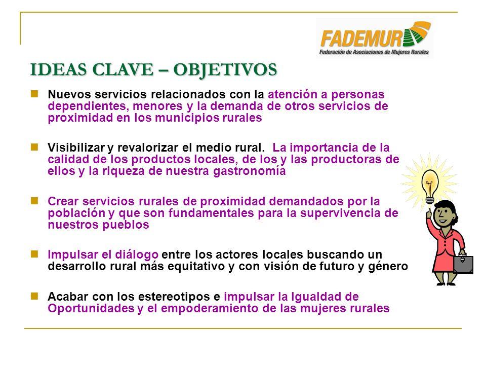 IDEAS CLAVE – OBJETIVOS Nuevos servicios relacionados con la atención a personas dependientes, menores y la demanda de otros servicios de proximidad e