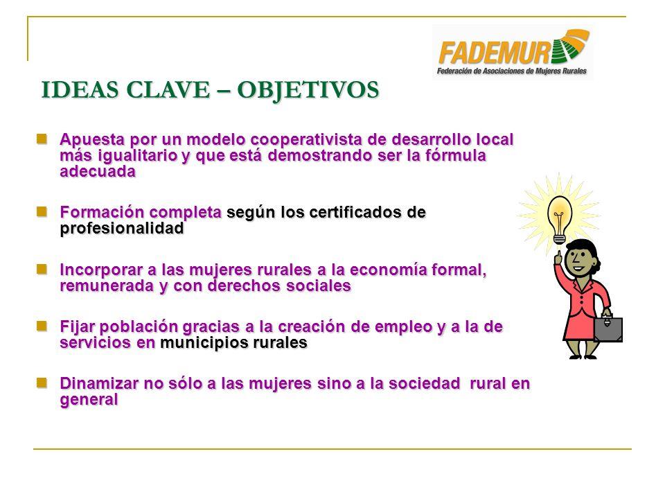 IDEAS CLAVE – OBJETIVOS Apuesta por un modelo cooperativista de desarrollo local más igualitario y que está demostrando ser la fórmula adecuada Apuest
