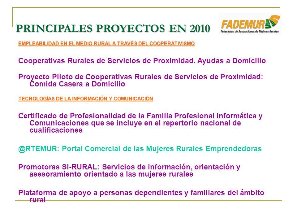 EMPLEABILIDAD EN EL MEDIO RURAL A TRAVÉS DEL COOPERATIVISMO Cooperativas Rurales de Servicios de Proximidad. Ayudas a Domicilio Proyecto Piloto de Coo