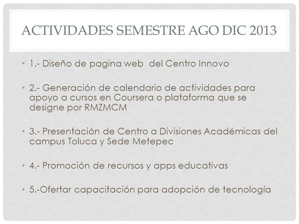 ACTIVIDADES SEMESTRE AGO DIC 2013 1.- Diseño de pagina web del Centro Innovo 2.- Generación de calendario de actividades para apoyo a cursos en Course