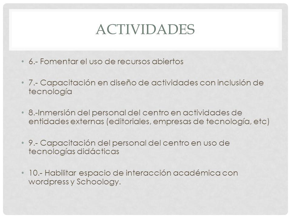 ACTIVIDADES 6.- Fomentar el uso de recursos abiertos 7.- Capacitación en diseño de actividades con inclusión de tecnología 8.-Inmersión del personal d