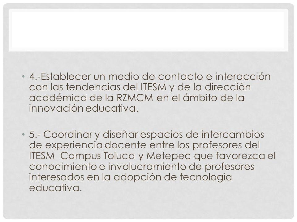 4.-Establecer un medio de contacto e interacción con las tendencias del ITESM y de la dirección académica de la RZMCM en el ámbito de la innovación ed