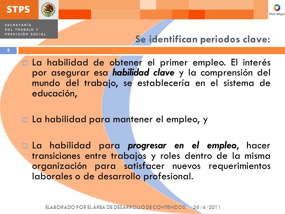 El estándar de competencias de empleabilidad ELABORADO POR EL ÁREA DE DESARROLLO DE CONTENIDOS 26 Debe contener: Los conocimientos, habilidades y actitudes relevantes en la obtención, mantenimiento y progreso laboral.