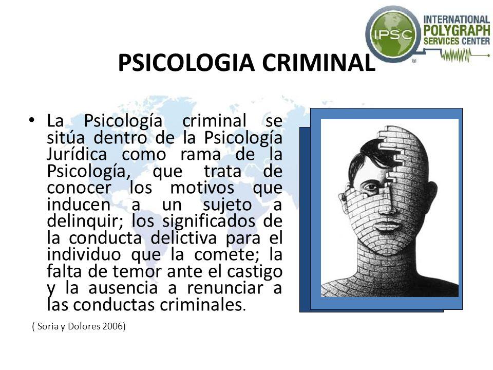 PSICOLOGIA CRIMINAL Tiene como objeto analizar el conjunto de fenómenos psicológicos que se producen en la estructura de la personalidad del individuo antes, durante y después de un acto criminal (Motivación, Impulsos, Emociones, Percepción, etc.)