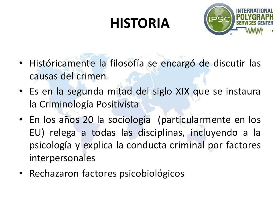 HISTORIA Históricamente la filosofía se encargó de discutir las causas del crimen Es en la segunda mitad del siglo XIX que se instaura la Criminología
