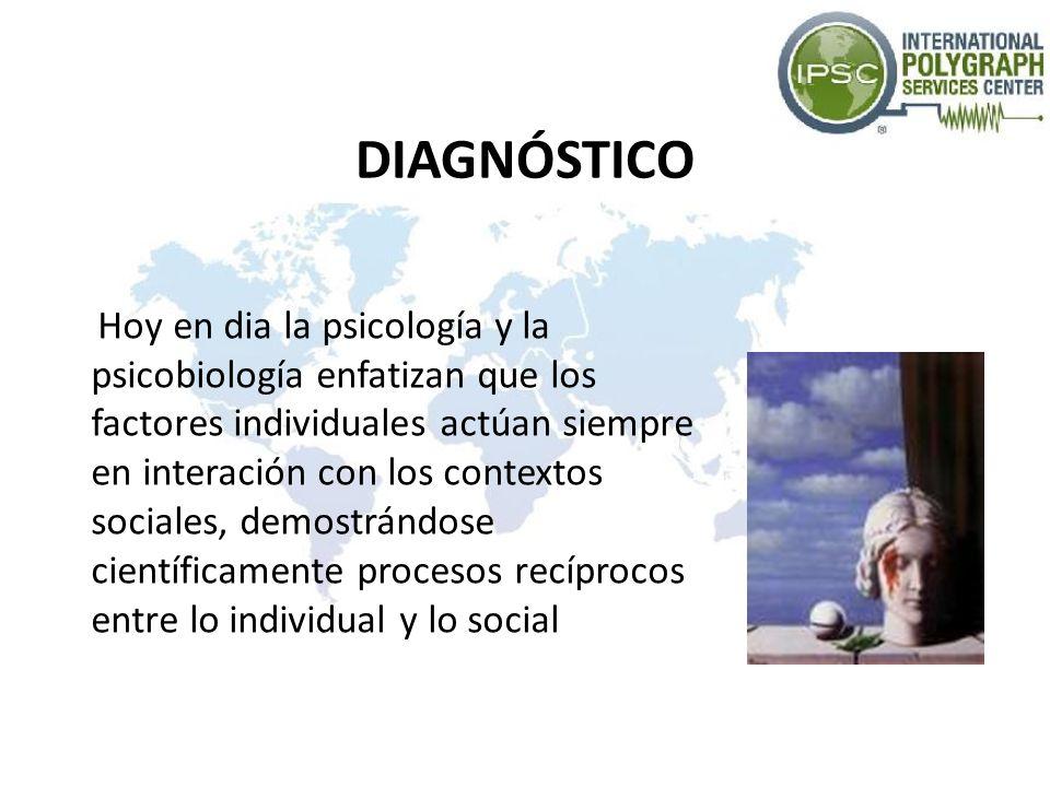 DIAGNÓSTICO Hoy en dia la psicología y la psicobiología enfatizan que los factores individuales actúan siempre en interación con los contextos sociale