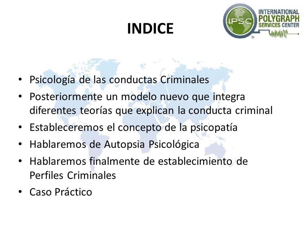 INDICE Psicología de las conductas Criminales Posteriormente un modelo nuevo que integra diferentes teorías que explican la conducta criminal Establec