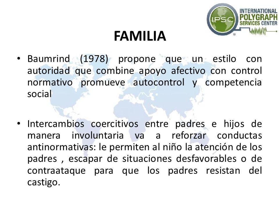 FAMILIA Baumrind (1978) propone que un estilo con autoridad que combine apoyo afectivo con control normativo promueve autocontrol y competencia social