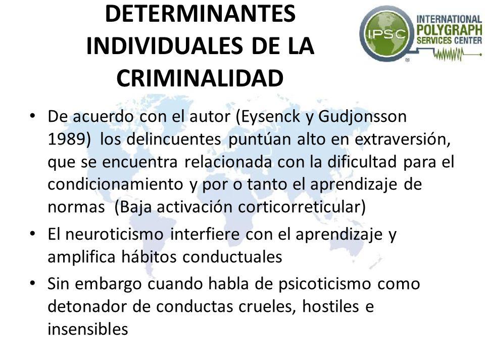 DETERMINANTES INDIVIDUALES DE LA CRIMINALIDAD De acuerdo con el autor (Eysenck y Gudjonsson 1989) los delincuentes puntúan alto en extraversión, que s