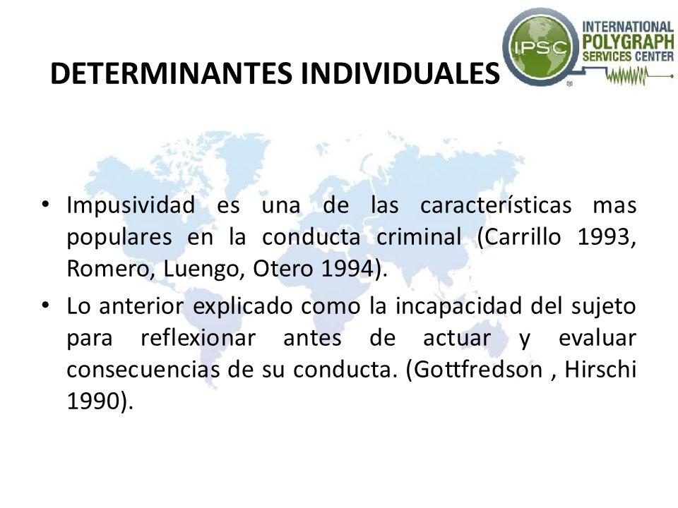 DETERMINANTES INDIVIDUALES Impusividad es una de las características mas populares en la conducta criminal (Carrillo 1993, Romero, Luengo, Otero 1994)