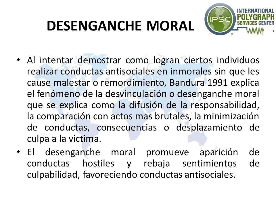 DESENGANCHE MORAL Al intentar demostrar como logran ciertos individuos realizar conductas antisociales en inmorales sin que les cause malestar o remor