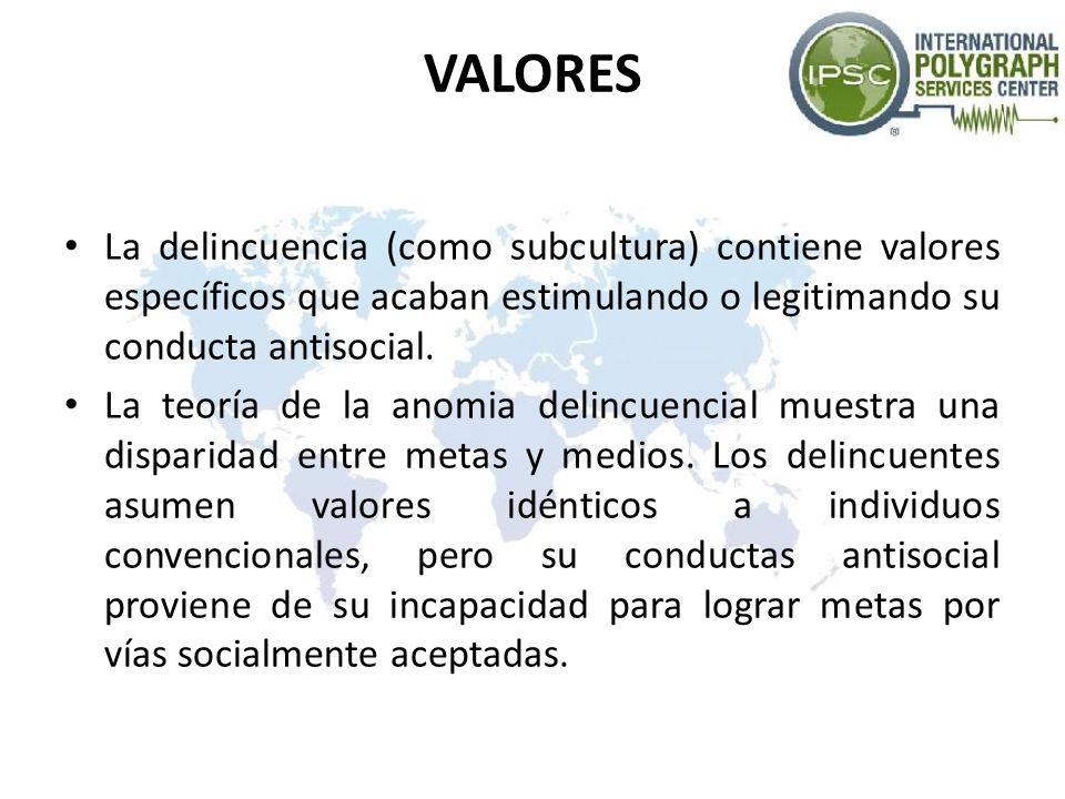 VALORES La delincuencia (como subcultura) contiene valores específicos que acaban estimulando o legitimando su conducta antisocial. La teoría de la an