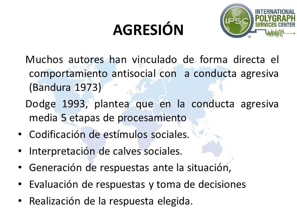 AGRESIÓN Muchos autores han vinculado de forma directa el comportamiento antisocial con a conducta agresiva (Bandura 1973) Dodge 1993, plantea que en