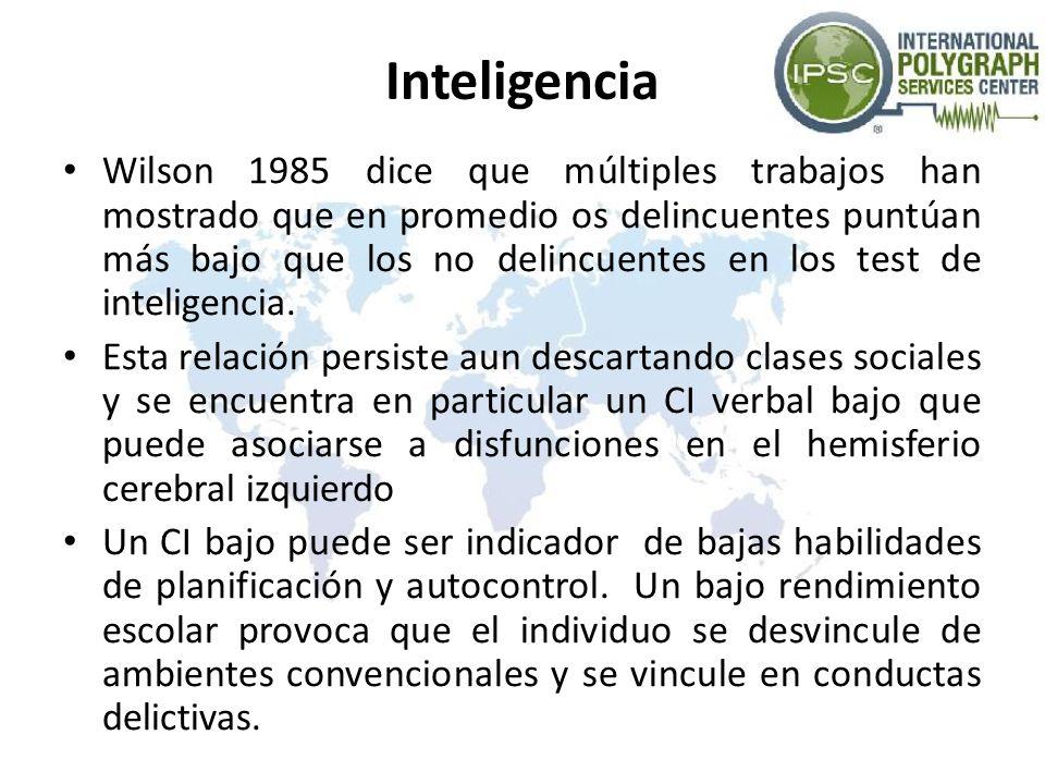 Inteligencia Wilson 1985 dice que múltiples trabajos han mostrado que en promedio os delincuentes puntúan más bajo que los no delincuentes en los test