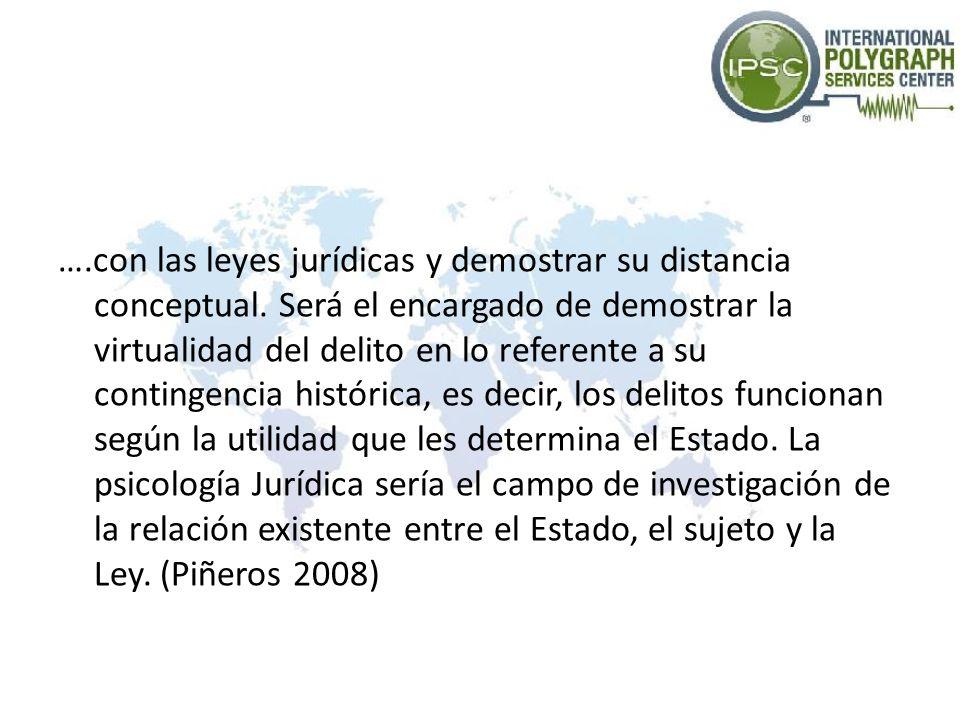 Psicología Jurídica Para el Colegio Oficial de Psicólogos en España (referido por Jimenez y Bounce 2010), la Psicología Jurídica es un campo de actuación e investigación psicológica especializada que se dedica al estudio del comportamiento de las personas que integran el área jurídica.