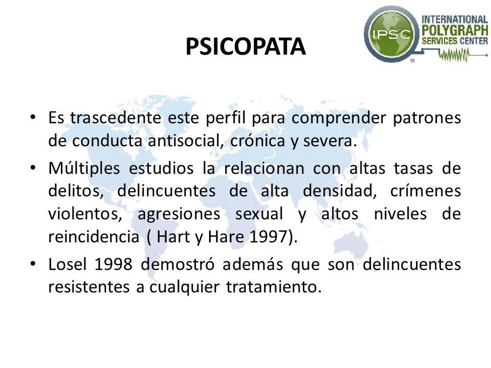 PSICOPATA Es trascedente este perfil para comprender patrones de conducta antisocial, crónica y severa. Múltiples estudios la relacionan con altas tas